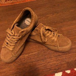 Tan sued sneakers